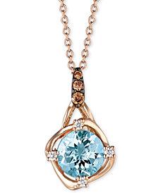 "Le Vian® Aquamarine (9/10 ct. t.w.) & Diamond Accent 18"" Pendant Necklace in 14k Rose Gold"