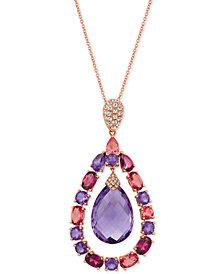 "Le Vian® Multi-Gemstone (15-1/2 ct. t.w.) & Diamond Accent 20"" Pendant Necklace in 14k Rose Gold"
