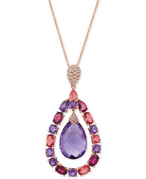 "Le Vian Multi-Gemstone (15-1/2 ct. t.w.) & Diamond Accent 20"" Pendant Necklace in 14k Rose Gold"