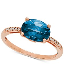 London Blue Topaz (2-1/2 ct. t.w.) & Diamond Accent Ring in 14k Rose Gold