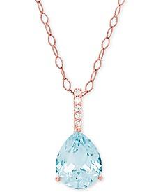 """Aquamarine (2-1/10 ct. t.w.) & Diamond Accent 18"""" Pendant Necklace in 14k Rose Gold"""