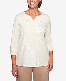 Alfred Dunner Petite Good To Go Lace Split-Neck Top