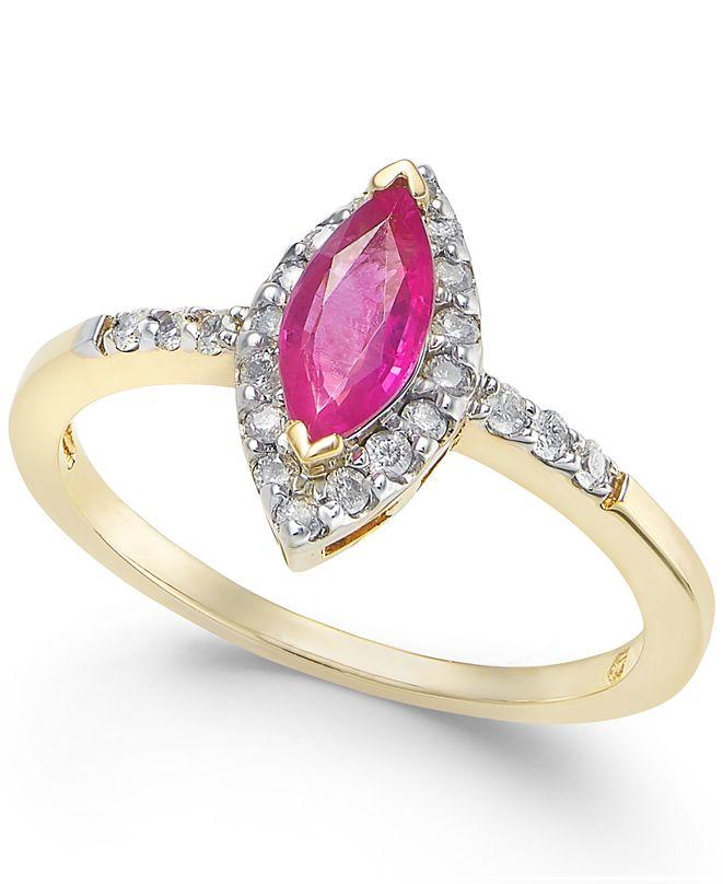 Macy's Ruby (3/4 ct. t.w.) & Diamond (1/5 ct. t.w.) Ring in 14k Gold