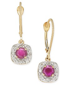 Ruby (1 ct. t.w.) & Diamond (1/6 ct. t.w.) Drop Earrings in 14k Gold