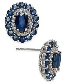Sapphire (3 ct. t.w.) & Diamond (1/4 ct. t.w.) Stud Earrings in 14k White Gold