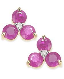 Ruby (2 ct. t.w.) & Diamond Accent Stud Earrings in 14k Gold