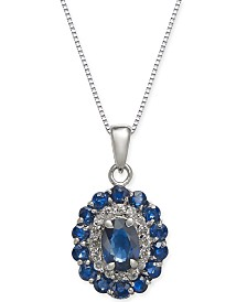 "Sapphire (2-1/8 ct. t.w.) & Diamond (1/6 ct. t.w.) 18"" Pendant Necklace in 14k White Gold"