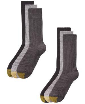 GOLD TOE Men'S 6-Pk. Crew Socks in Grey Assortment