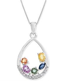"""Multi-Sapphire (1-1/4 ct. t.w.) & Diamond (1/8 ct. t.w.) 18"""" Pendant Necklace in 14k White Gold"""