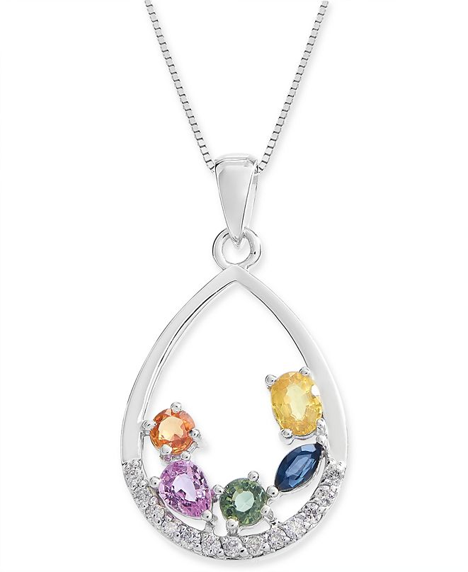 "Macy's Multi-Sapphire (1-1/4 ct. t.w.) & Diamond (1/8 ct. t.w.) 18"" Pendant Necklace in 14k White Gold"