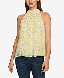1.STATE Halter-Tie Floral Pleated Top