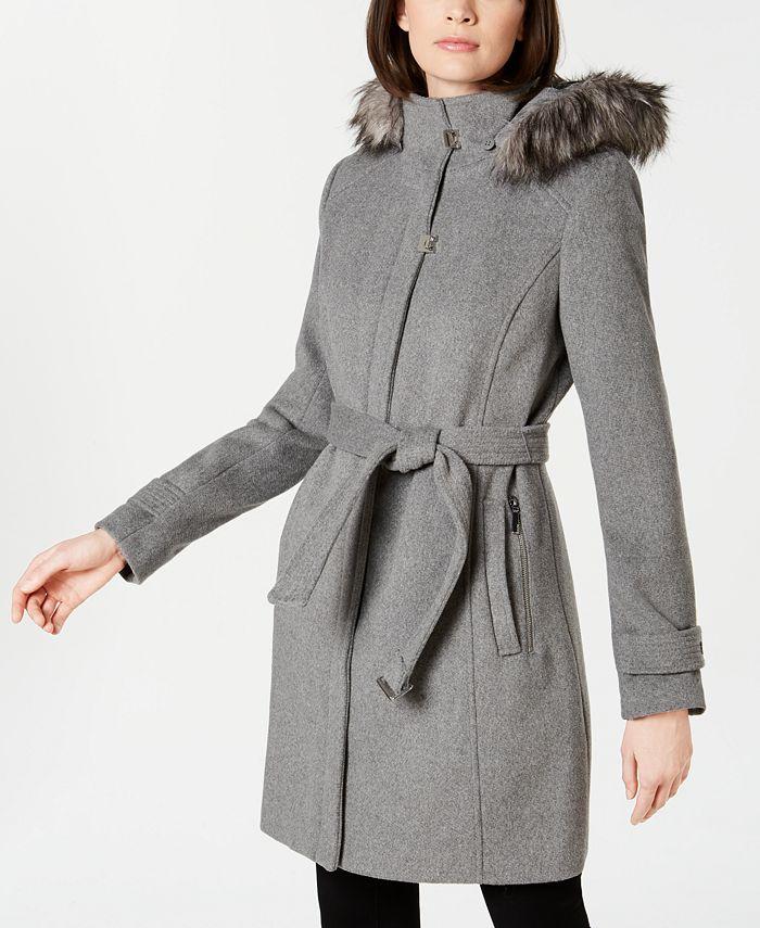 Calvin Klein - Faux-Fur-Trim Belted Walker Coat