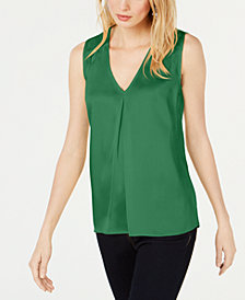 I.N.C. Petite Ruched V-Neck Tank Top, Created for Macy's
