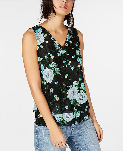 INC International Concepts I.N.C. Double-Layer V-Neck Tank Top, Created for Macy's