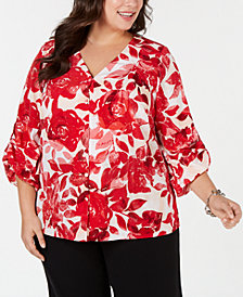 Alfani Plus Size Printed Button-Front Top, Created for Macy's