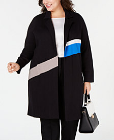 Alfani Plus Size Colorblocked Trench Sweater Coat, Created for Macy's