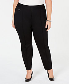 Alfani Plus Size Comfort-Waist Pintucked Skinny Pants, Created for Macy's