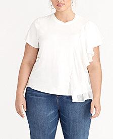 RACHEL Rachel Roy Trendy Plus Size Ruffled Top, Created for Macy's