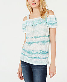 I.N.C. Cold-Shoulder Ruffle Top, Created for Macy's
