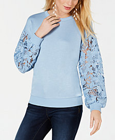 I.N.C. Lace-Sleeve Sweatshirt, Created for Macy's