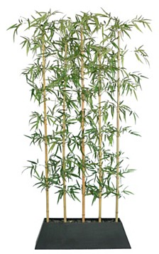 """Laura Ashley 96"""" Tall Silk Bamboo Tree Screen Artificial Home Decor Faux with Wood Planter"""