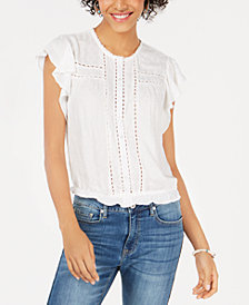 American Rag Juniors' Flutter-Sleeve Blouson Top, Created for Macy's