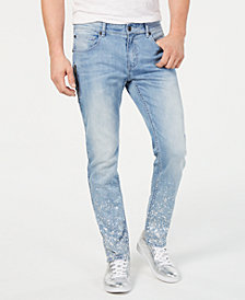 I.N.C. Men's Slim-Fit Paint Splatter Jeans, Created for Macy's