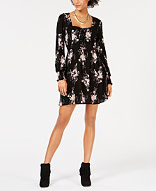 American Rag Juniors Printed Lace-Up Dress, Created for Macy's