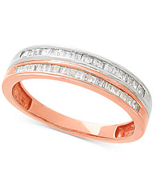 Diamond Stack-Look Ring (1/5 ct. t.w.) in 10k White Gold & Rose Gold