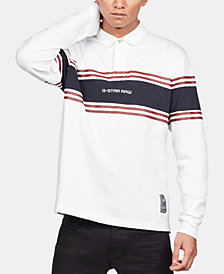 G-Star RAW Men's Regular-Fit Colorblocked Stripe Rugby Polo, Created for Macy's