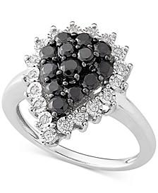 Diamond Teardrop Cluster Ring (1 ct. t.w.) in Sterling Silver