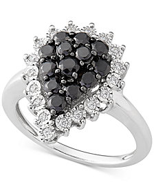 Diamond Teardrop Cluster Ring (1 ct. t.w.) in Sterling Silver