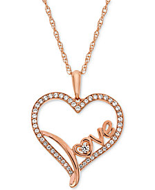 "Diamond Scripted Love Heart 18"" Pendant Necklace (1/4 ct. t.w.) in 14k Rose Gold-Plated Sterling Silver"
