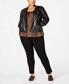 Plus Size Moto Jacket, Animal-Print Top & Miranda Pants