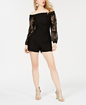 0b961f71846 GUESS Montrese Off-The-Shoulder Lace-Sleeve Romper