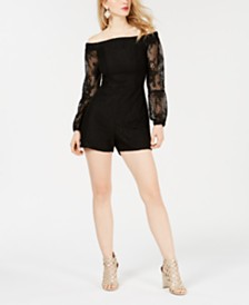 ccd3b21ab6277 GUESS Montrese Off-The-Shoulder Lace-Sleeve Romper