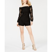 GUESS Women's Long Sleeve Off Shoulder Montrese Romper