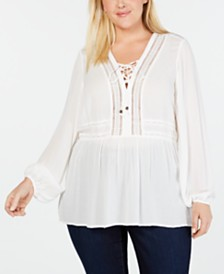 Seven7 Jeans Trendy Plus Size Crochet Lace-Up Top