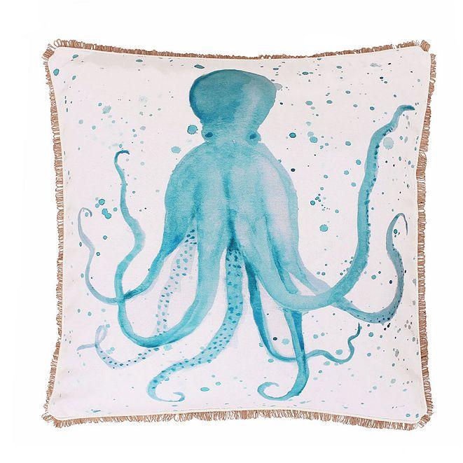 """THRO Ozwald Octopus Splatter Printed Faux Linen Pillow, 20"""" x 20"""""""