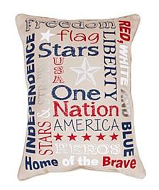 "Patriotic Typography Faux Linen Pillow, 14"" x 18"""
