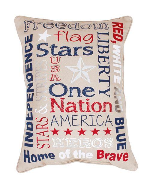 "THRO Patriotic Typography Faux Linen Pillow, 14"" x 18"""