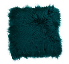 "Keller Faux Mongolian Reverse To Micromink Pillow, 26"" x 26"""