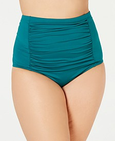 Plus Size Color Code High-Waist Swim Bottoms