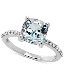 Love Rocks Bridal Aquamarine (2 ct. t.w) & Diamond (1/6 ct. t.w) Ring in 14k White Gold