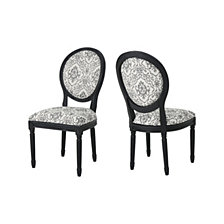 Hiro Black Pattern Dining Chairs (Set of 2), Quick Ship