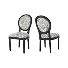 Hiro Black Pattern Dining Chairs (Set of 2), Quick Ship
