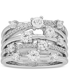 Cubic Zirconia Stack-Look Statement Ring in Sterling Silver