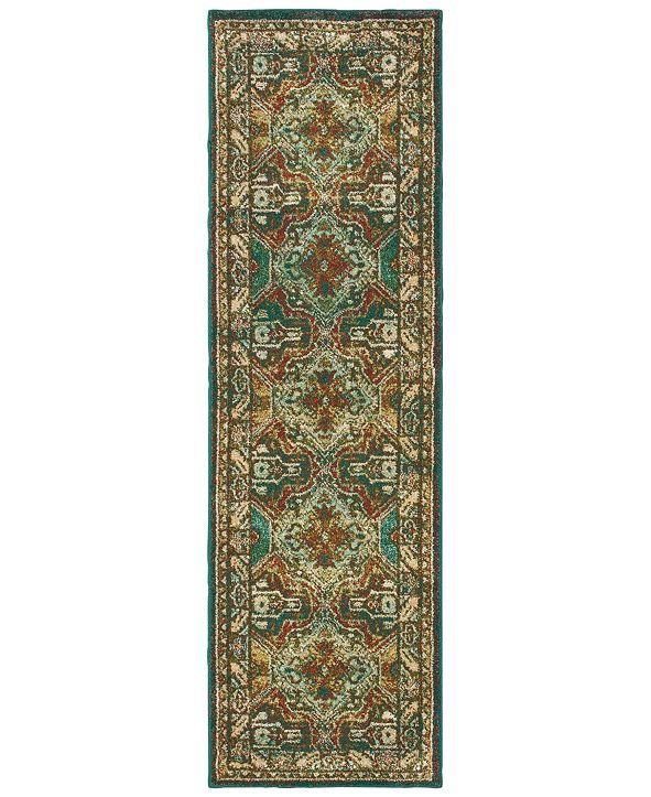 "Oriental Weavers Dawson 8527A Teal/Brown 2'3"" x 7'6"" Runner Area Rug"