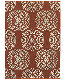 "Oriental Weavers Highlands 6672B Red/Beige 9'10"" x 12'10"" Area Rug"