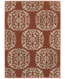 "Oriental Weavers Highlands 6672B Red/Beige 3'10"" x 5'5"" Area Rug"